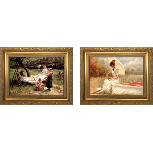 'The Apple Gatherers' 2 Piece Framed Oil Painting Print Set by Three Posts