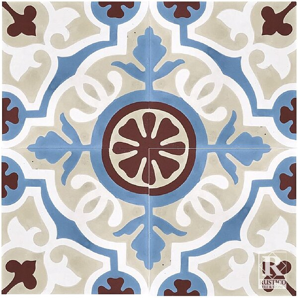 Amalia Concrete 8 x 8 Cement Field Tile in Beige/Blue (Set of 4) by Rustico Tile & Stone