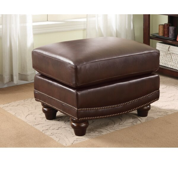 Kerley Nice looking Leather Ottoman by Alcott Hill