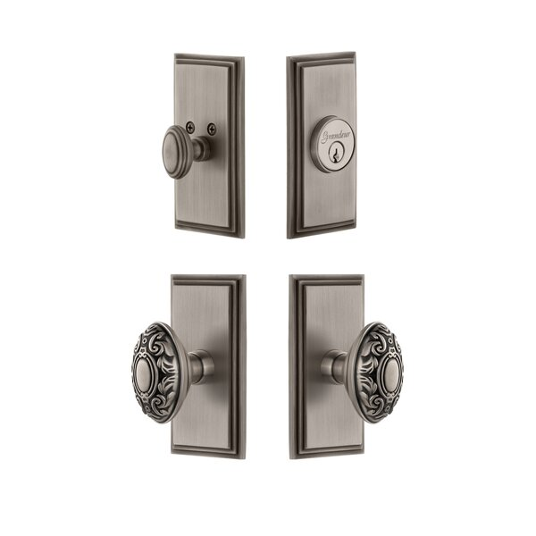 Carre Single Cylinder Knob Combo Pack with Grande Victorian Knob by Grandeur