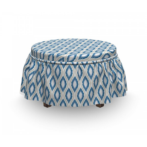 Ikat Japanese Kimono Motifs 2 Piece Box Cushion Ottoman Slipcover Set By East Urban Home