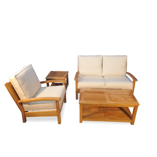 4 Piece Teak Sunbrella Sofa Set with Cushions by Regal Teak