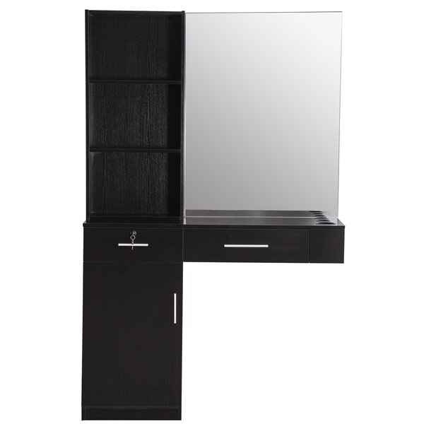 Shugart Wall Mount Hair Styling Barber Station 2 Drawer Combo Dresser with Mirror by Symple Stuff