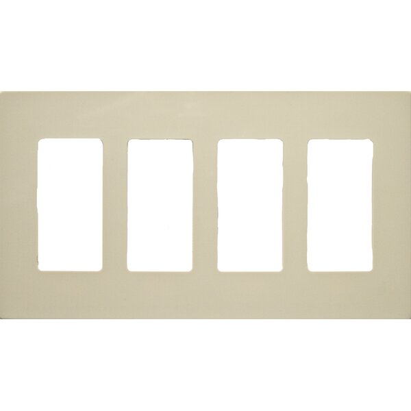 4 Gang Decorator Screwless Snap in Wall Plates in Ivory by Morris Products