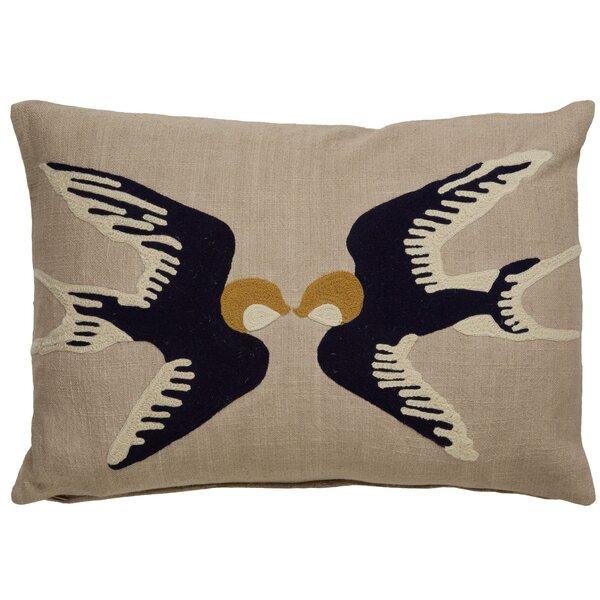 Purti Kissing Birds Pattern Cotton Lumbar Pillow by Bloomsbury Market