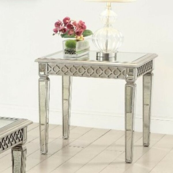 Beiler Geometric Trim Accented Wooden End Table by House of Hampton