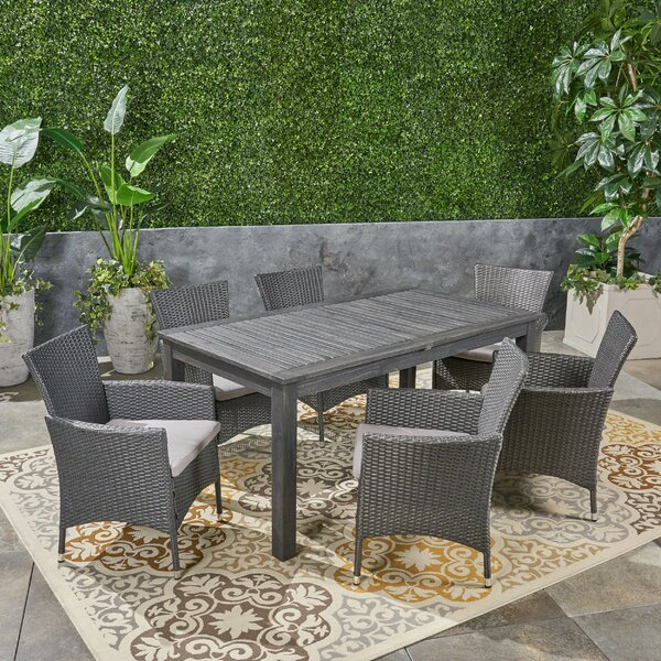 Dibble Outdoor Expandable 7 Piece Dining Set with Cushions by Brayden Studio