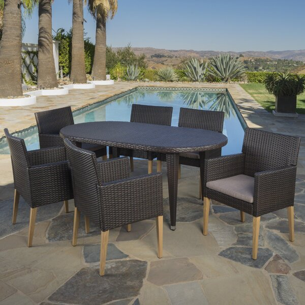 Antonia Outdoor 7 Piece Dining Set with Cushions by Bungalow Rose