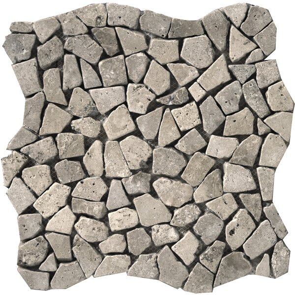 Travertine 12 x 12 Pebble Mosaic in Silver by Emser Tile