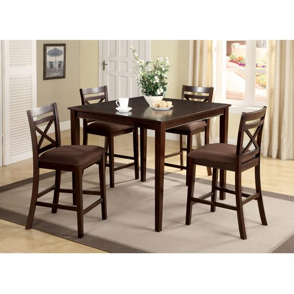 Easton 5 Piece Counter Height Solid Wood Dining Set by Hokku Designs