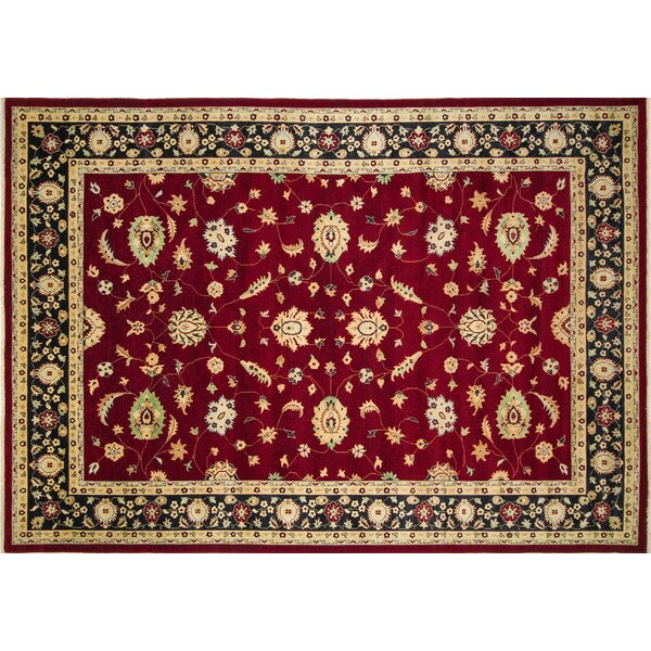 One-of-a-Kind Carlotta Hand-Knotted Red Premium Wool Area Rug by Isabelline