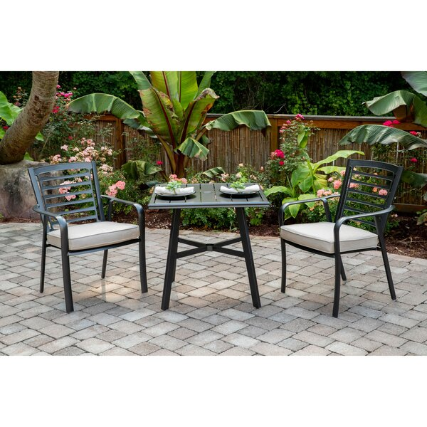 Leeson 3-Piece Commercial-Grade Bistro Set with 2 Cushioned Dining Chairs and a 30 inch  Square Slat-Top Table by Ebern Designs