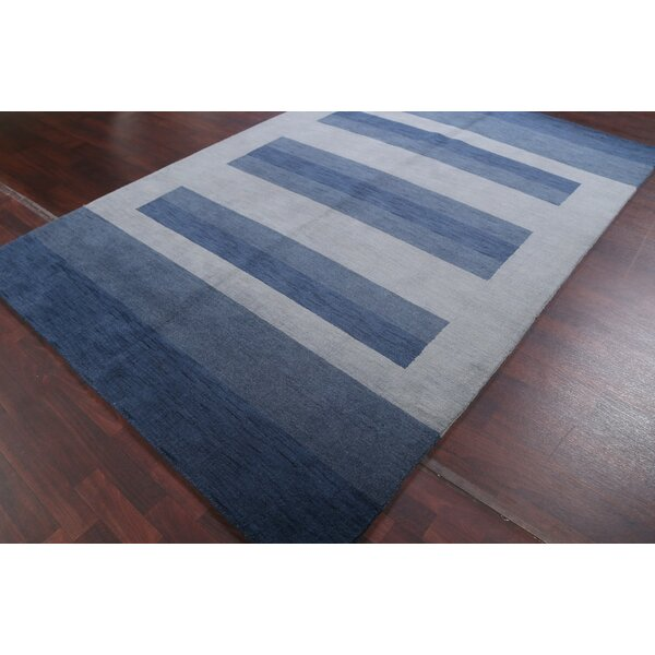 Candace Design Gabbeh Indian Oriental Hand-Knotted Wool Blue Area Rug by Red Barrel Studio