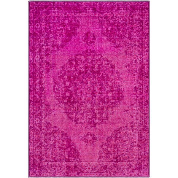 Ryhill Overdyed Floral Lilac/Bright Pink Area Rug by Bungalow Rose