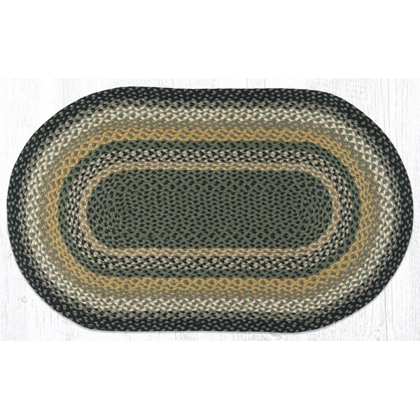 Black/Mustard/Creme Braided Area Rug by Earth Rugs