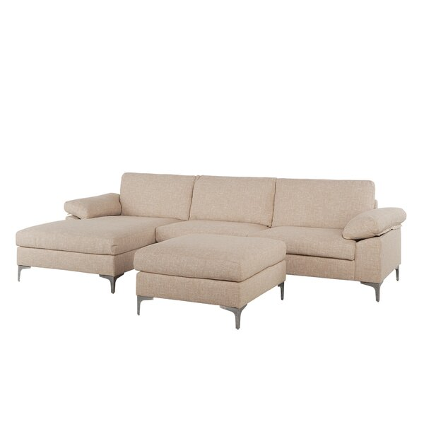 Quint Contemporary Sectional with Ottoman by Wrought Studio