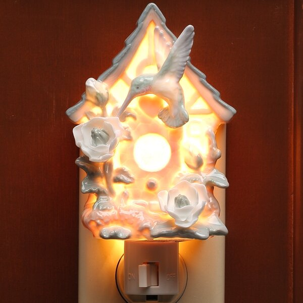 Hummingbird on Birdhouse Night Light by Cosmos Gifts