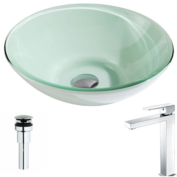 Sonata Glass Circular Vessel Bathroom Sink with Faucet