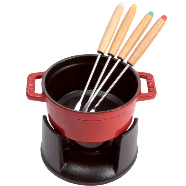 0.25 qt. Mini Chocolate Cast Iron Fondue Set by Staub