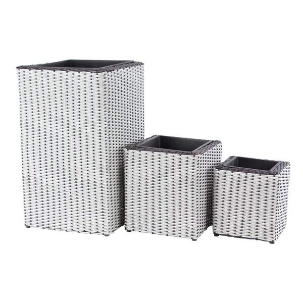 Modern Rectangular Woven 3-Piece Rattan Planter Box Set by Cole & Grey