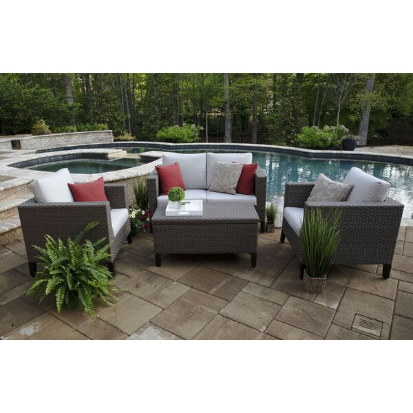Pellston 4 Piece Sunbrella Sofa Set with Cushions by Brayden Studio