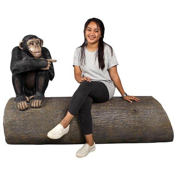 Monkey See Monkey Do Chimpanzee Sculptural Resin Garden Bench by Design Toscano