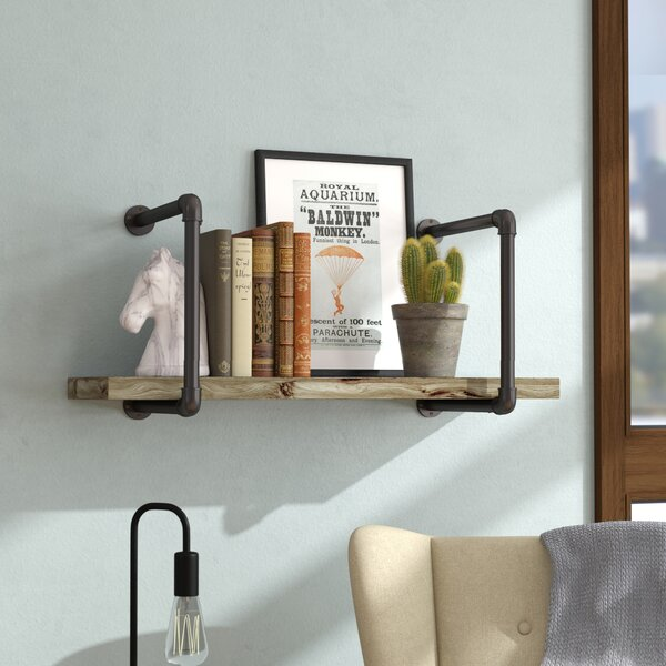 Shavonne Industrial Pipe Wall Shelf by Williston Forge
