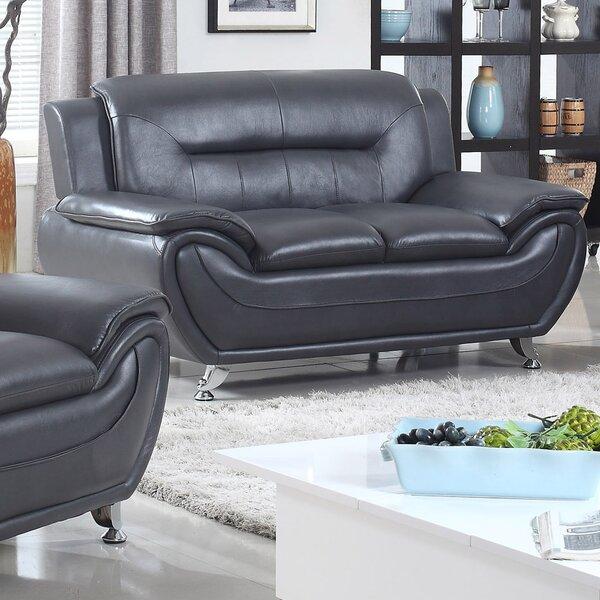 zipcode design lester modern living room faux leather loveseat u0026 reviews wayfair