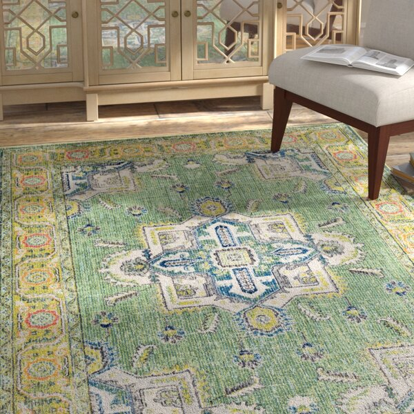 Tillamook Silk Distressed Floral Dark Green/Lime Area Rug by Bungalow Rose