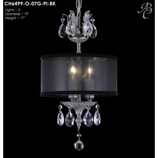 Llydia 3-Light Drum Chandelier by American Brass & Crystal