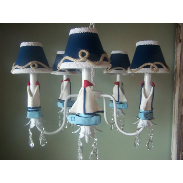 Nautical Sailboats 5-Light Shaded Chandelier by Silly Bear Lighting