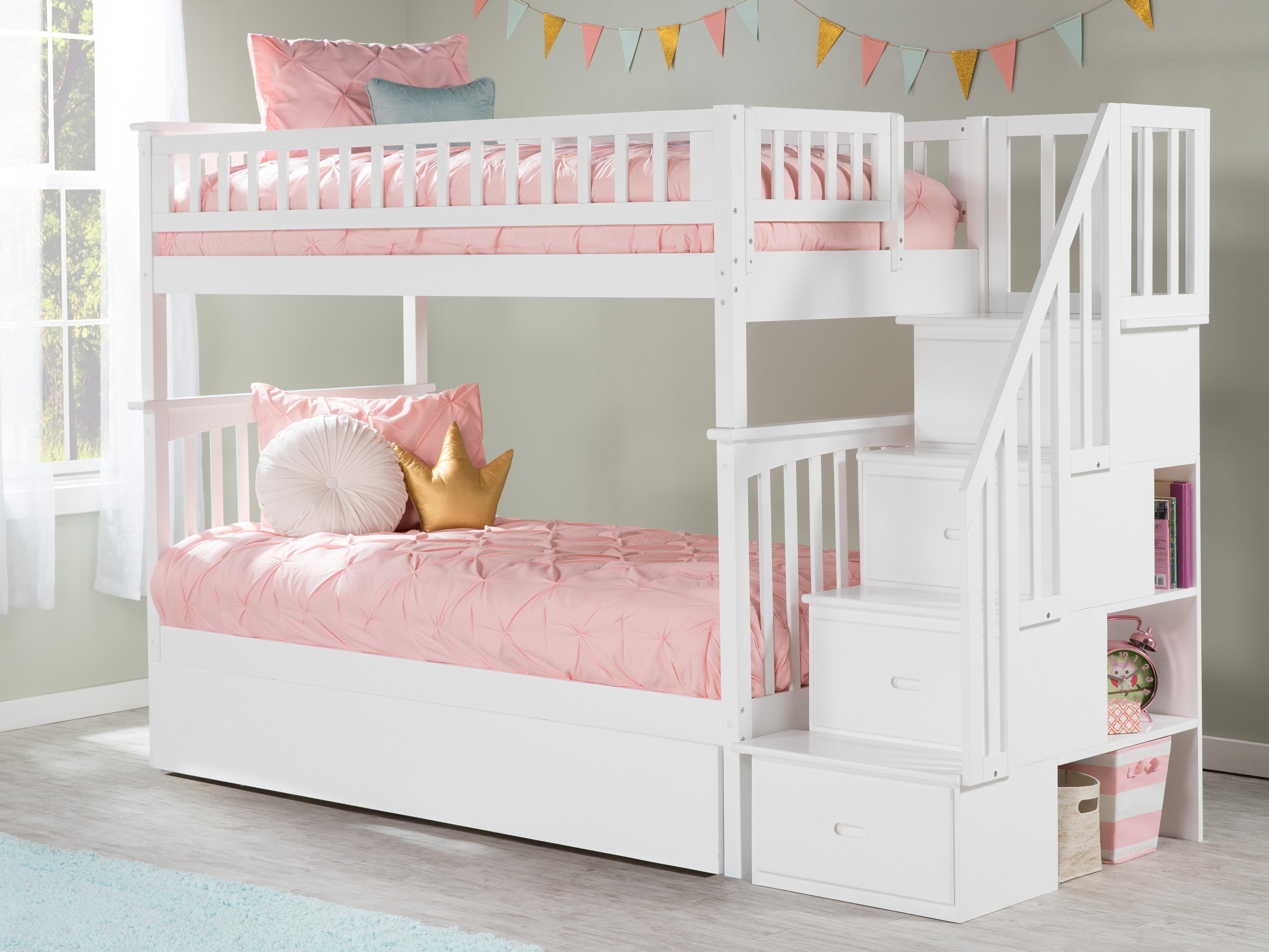 Lit Superposé Marche Escalier lit superposé simple au-dessus de simple avec gigogne escalier abel