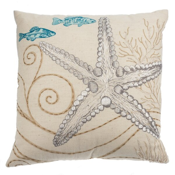 Cowley Embroidered Starfish Cotton Throw Pillow by Highland Dunes