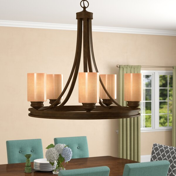 Russell Farm 5-Light Wagon Wheel Chandelier by Thr