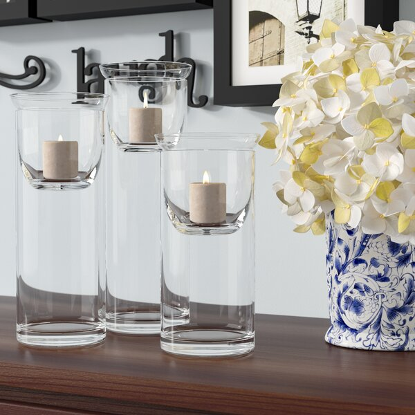 Cylinder Glass Hurricane with Votive Candle Holder Inserts by Red Barrel Studio