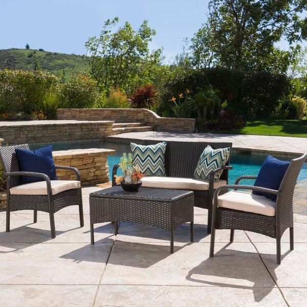Jeffrey 4 Piece Rattan Sofa Set with Cushions by Alcott Hill