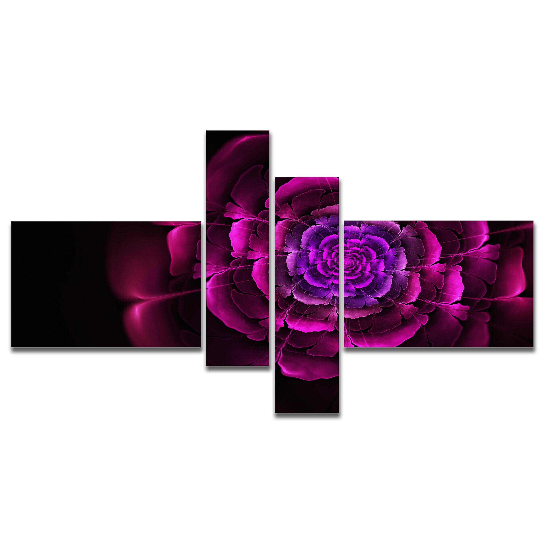 East Urban Home Fractal Purple Rose In Dark Graphic Art Print Multi Piece Image On Canvas Wayfair