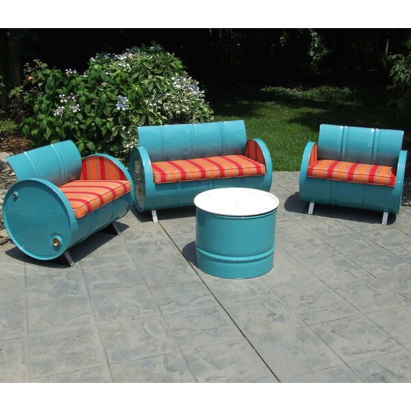 Sacha 4 Piece Sunbrella Sofa Set with Cushions by Millwood Pines