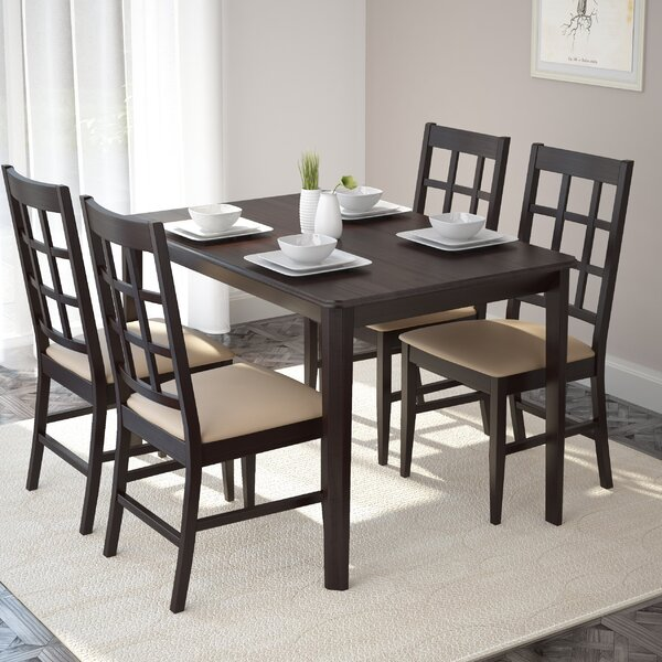 Mendoza 5 Piece Solid Wood Dining Set by Alcott Hill