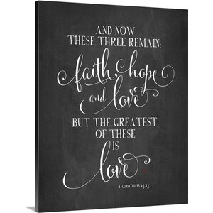 'Faith Hope And Love' by Amy Cummings Textual Art on Wrapped Canvas by Great Big Canvas