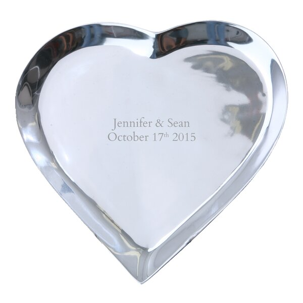 Personalized Autograph Pewter Heart Shape Platter by Signature Keepsakes