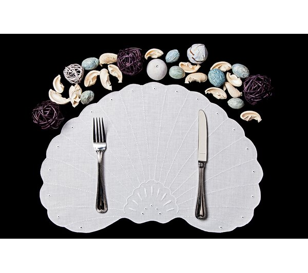 8 Piece Seashell Placemat and Napkin Set by Boutross Fine Linens