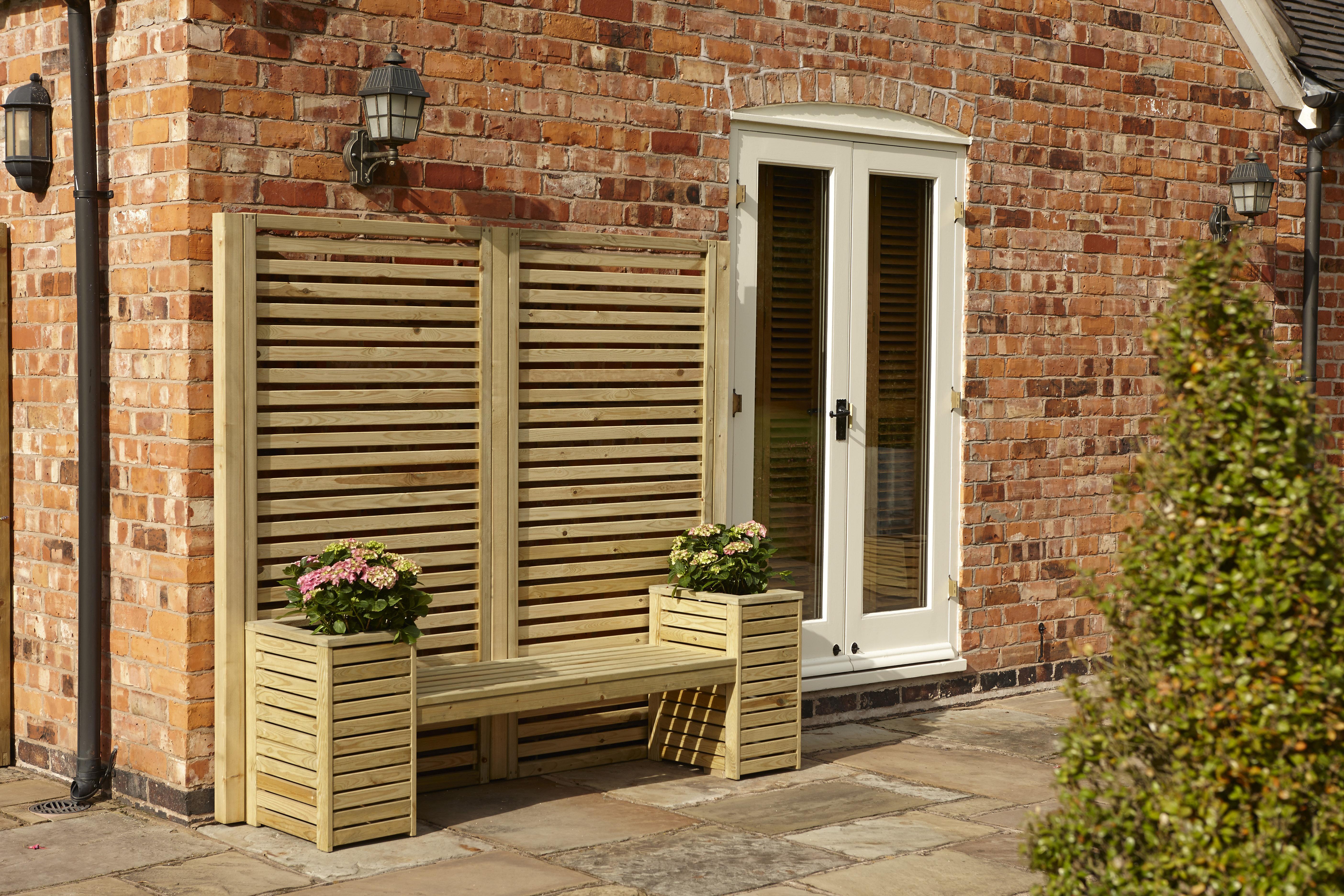 Garten Living Sitzbank Mit Blumenkasten Lampman Aus Holz
