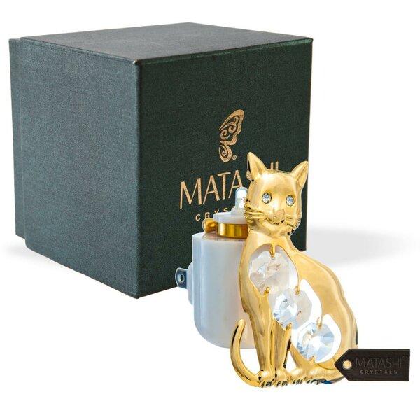 24K Gold Plated Crystal Studded Kitty Cat LED Night Light by Matashi Crystal