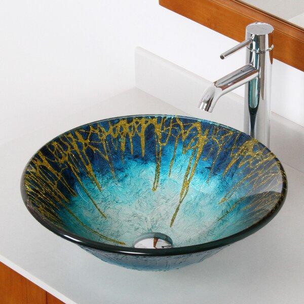 Enchantment Glass Circular Vessel Bathroom Sink by Elite