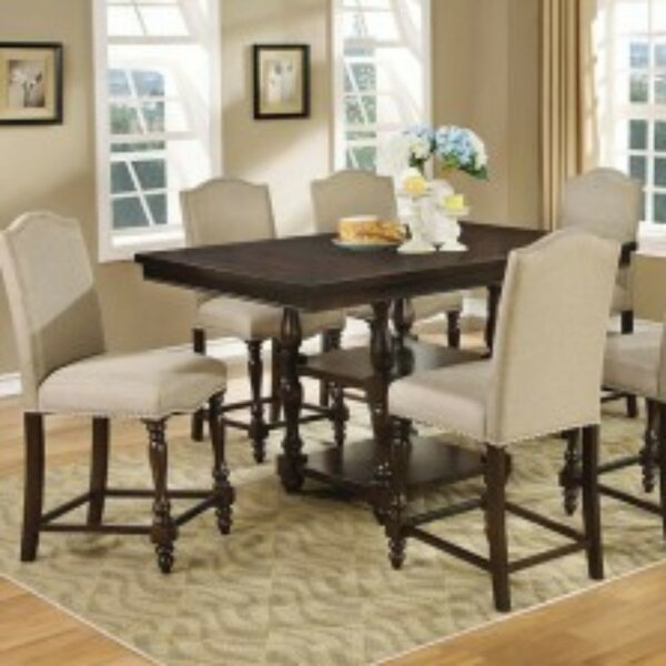 Kaan 7 Piece Counter Height Solid Wood Dining Set by Alcott Hill