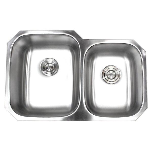 Stainless Steel 32 L x 21 W Double Basin Undermount Kitchen Sink
