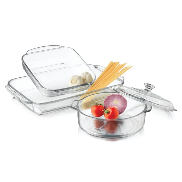 3 Piece Baking Dish Set with Cover by Libbey
