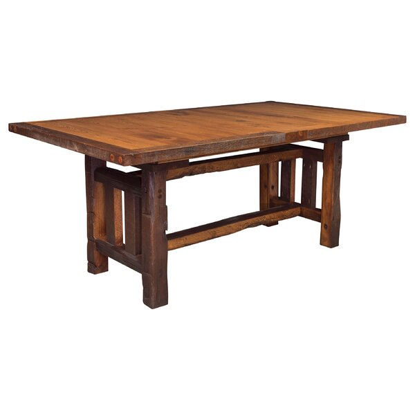 Rabon Barnwood Trestle Solid Wood Dining Table by Loon Peak Loon Peak