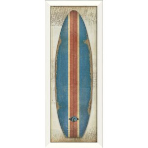 Malibu Classic Surfboard Framed Graphic Art by The Artwork Factory